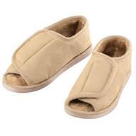 Silver Steps™ Adjustable Open Toe Faux Fur Slippers