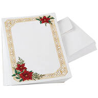 Poinsettia Collage Stationery Set