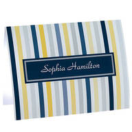 Personalized Striped Note Cards, Set of 20