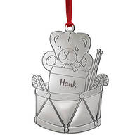 Personalized Silver-Tone Teddy Bear and Drum Ornament