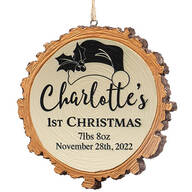 Personalized Baby's 1st Christmas Resin Wood Slice Ornament