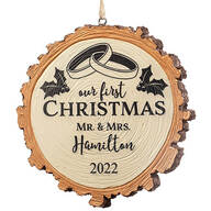 Personalized Our First Christmas Resin Wood Slice Ornament