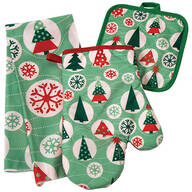 Retro Christmas Kitchen Towel, Oven Mitt and Potholder Set