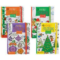 Kids' Pocket Size Christmas Coloring Books, Set of 4