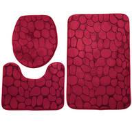 Pebble Embossed Memory Foam Bathroom Mat, Set of 3