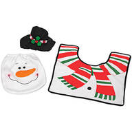 Snowman Toilet Cover and Rug, Set of 3