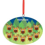 Personalized Dark Skintone Reindeer Hat Family Ornament