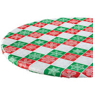 Snowflake Plaid Elasticized Table Cover by Chef's Pride™
