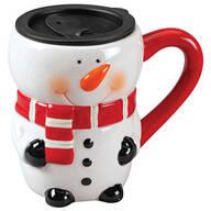 Ceramic Snowman 17 oz. Mug with Lid