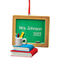 Personalized Chalkboard and Books Ornament