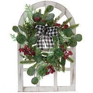 Christmas Window Frame with Eucalyptus Wreath