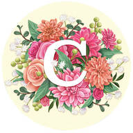 Personalized Floral Initial Envelope Seals, Set of 48