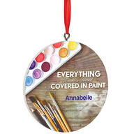 Personalized Covered in Paint Ornament